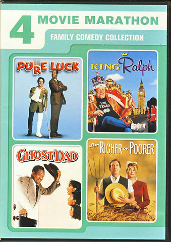 4 Movie Marathon Family Comedy Collection (Pure Luck/King Ralph/Ghost Dad/For Richer or Poorer) DVD Movie