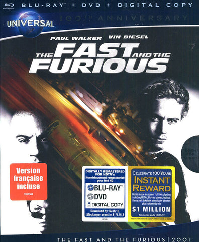 The Fast and the Furious (Bilingual) (Blu-ray + DVD + Digital Copy) (Blu-ray) BLU-RAY Movie