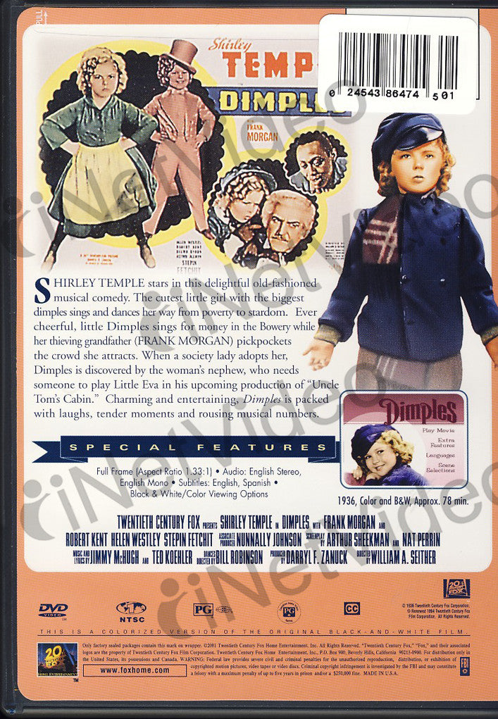 Shirley Temple - Dimples (20th Century Fox) on DVD Movie