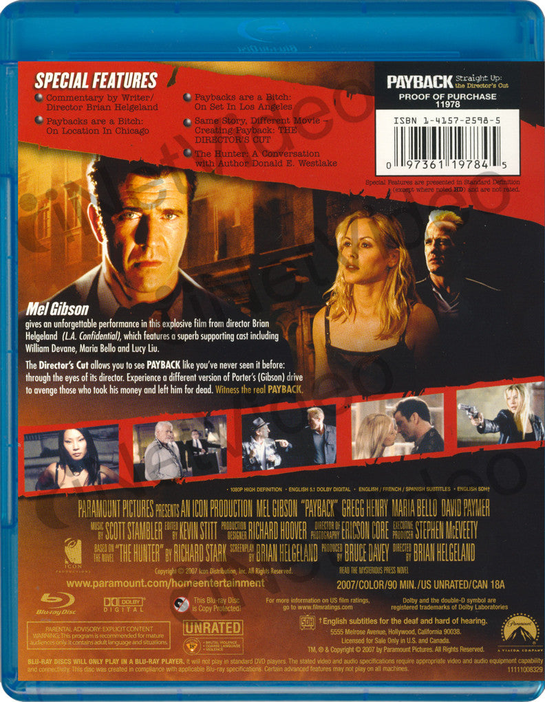 Payback Straight Up The Directors Cut Blu Ray Blu Ray