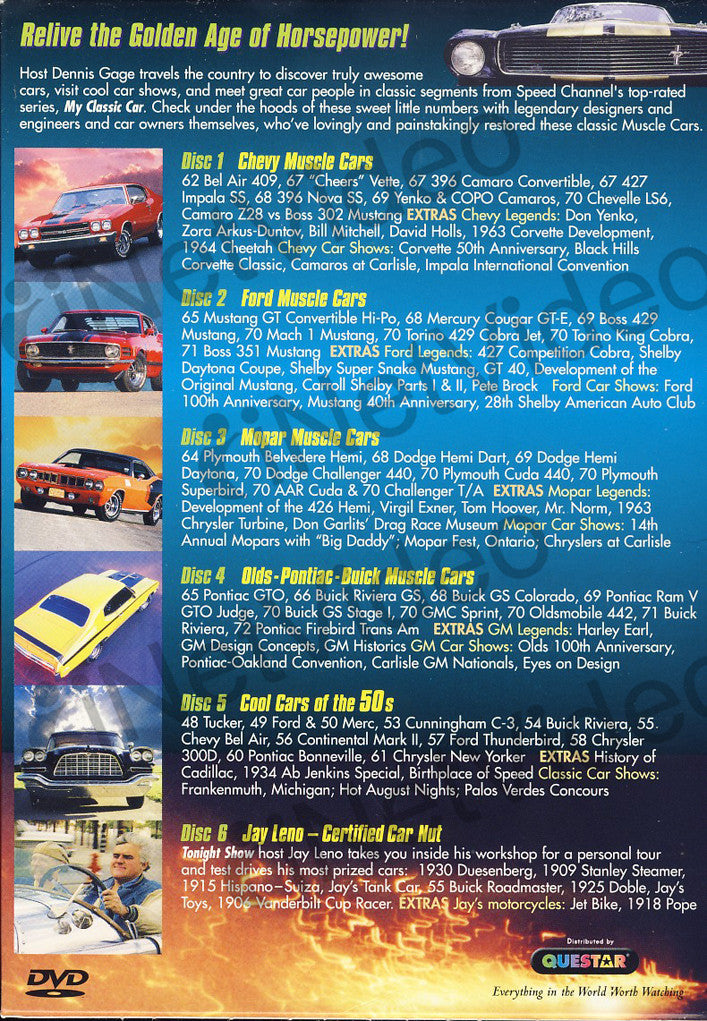 Legendary Muscle Cars Boxset On DVD Movie - Car shows tonight