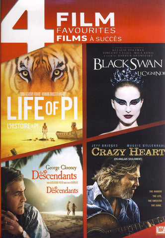 4 Film Favourites - Life of Pi / Black Swan / The Descendants / Crazy Heart (Bilingual) DVD Movie