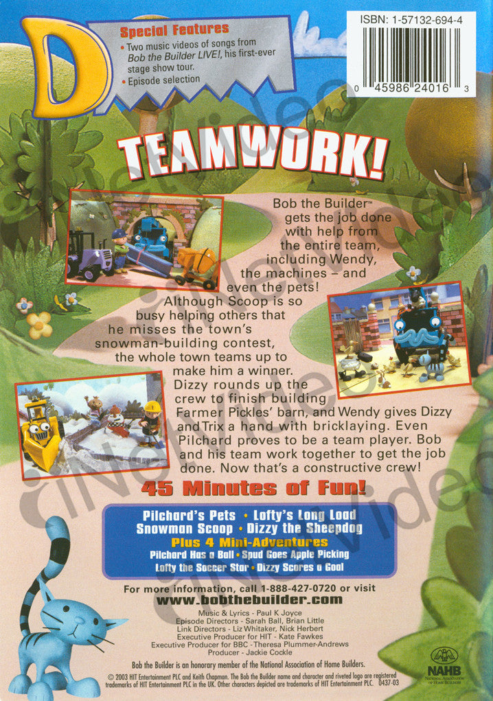 Bob the builder teamwork on dvd movie for Questions to ask a builder when buying a new home