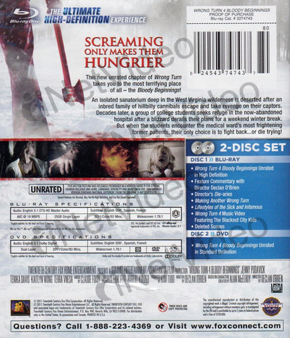 Wrong Turn 4 - Bloody Beginnings (Blu-ray + DVD) (Unrated) (Blu-ray) BLU-RAY Movie