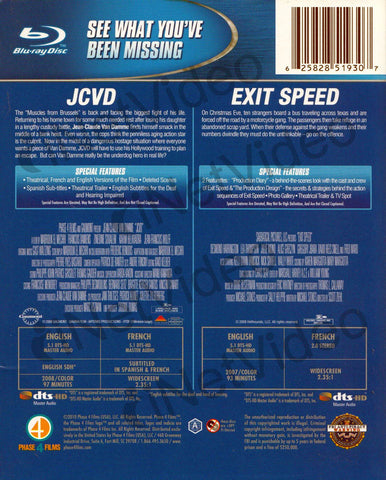 JCVD / Exit Speed (Blu-ray) (Boxset) BLU-RAY Movie