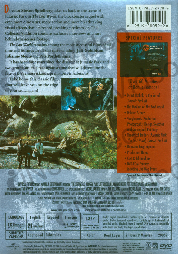 Jurassic Park The Lost World Collector S Edition Widescreen On