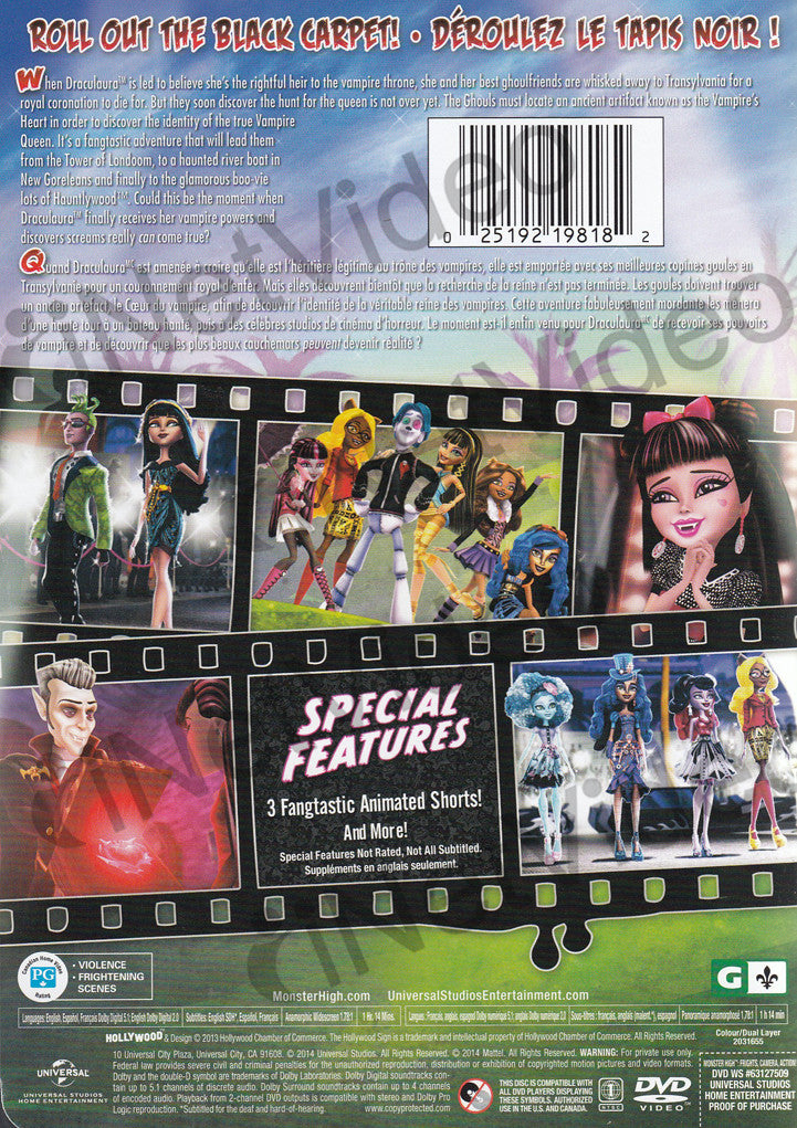 Monster High Frights Camera Action Bilingual On Dvd Movie