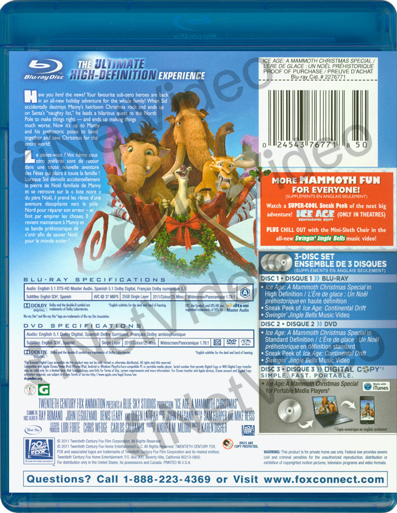 ice age a mammoth christmas special bilingual blu ray dvd - Ice Age Mammoth Christmas