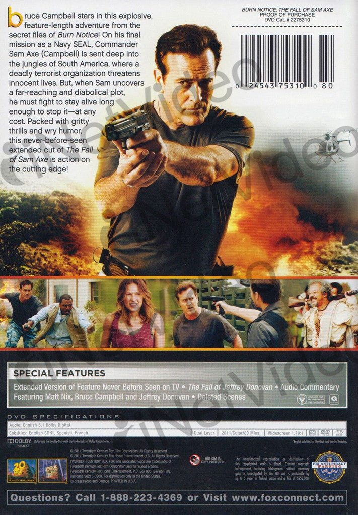 Burn Notice - The Fall of Sam Axe on DVD Movie