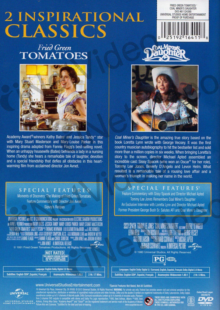Fried Green Tomatoes / Coal Miner's Daughter on DVD Movie