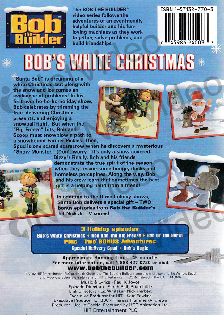 Bob the builder bob s white christmas hit on dvd movie for Questions to ask a builder when buying a new home