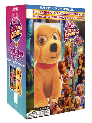 Barbie&Her Sisters In The Great Puppy Adventure(Blu-ray +Plush Toy+DVD)(Blu-ray)(Boxset)(Bilingual) BLU-RAY Movie