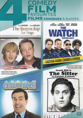 4 Comedy Film Favourites (The Intership/ The Watch/ Cedar Rapids/ The Sitter) (Bilingual) DVD Movie