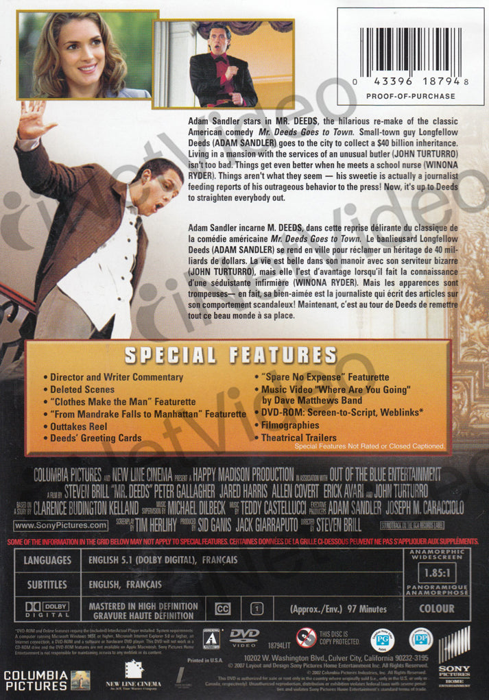 Mr deeds widescreen bilingual on dvd movie mr deeds widescreen bilingual dvd movie m4hsunfo
