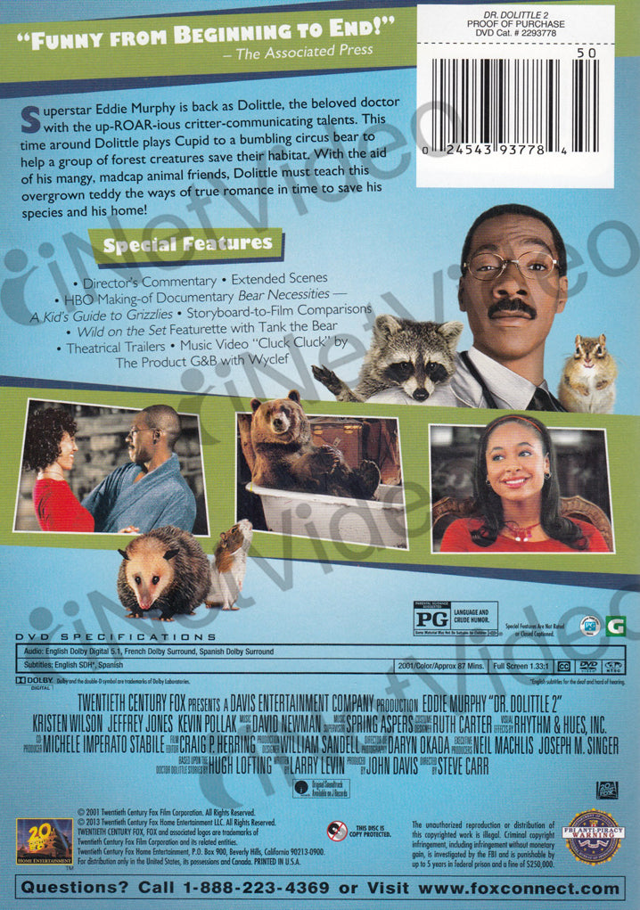 Dr Dolittle 2 Green Cover On Dvd Movie