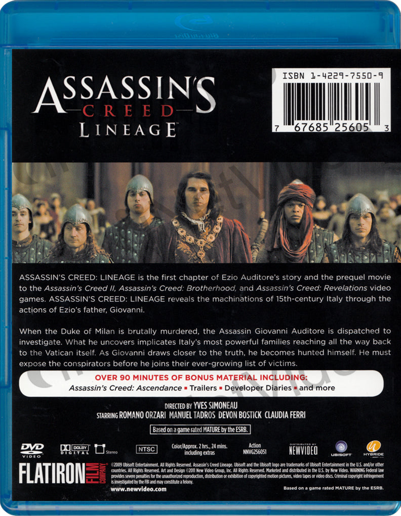 Assassin S Creed Lineage Blu Ray On Blu Ray Movie