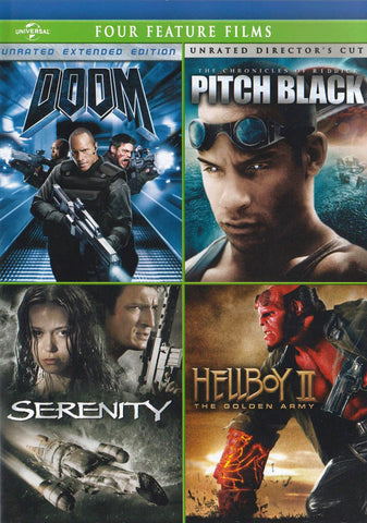 Doom / Pitch Black / Serenity / Hellboy II: The Golden Army (Four Feature Films) DVD Movie