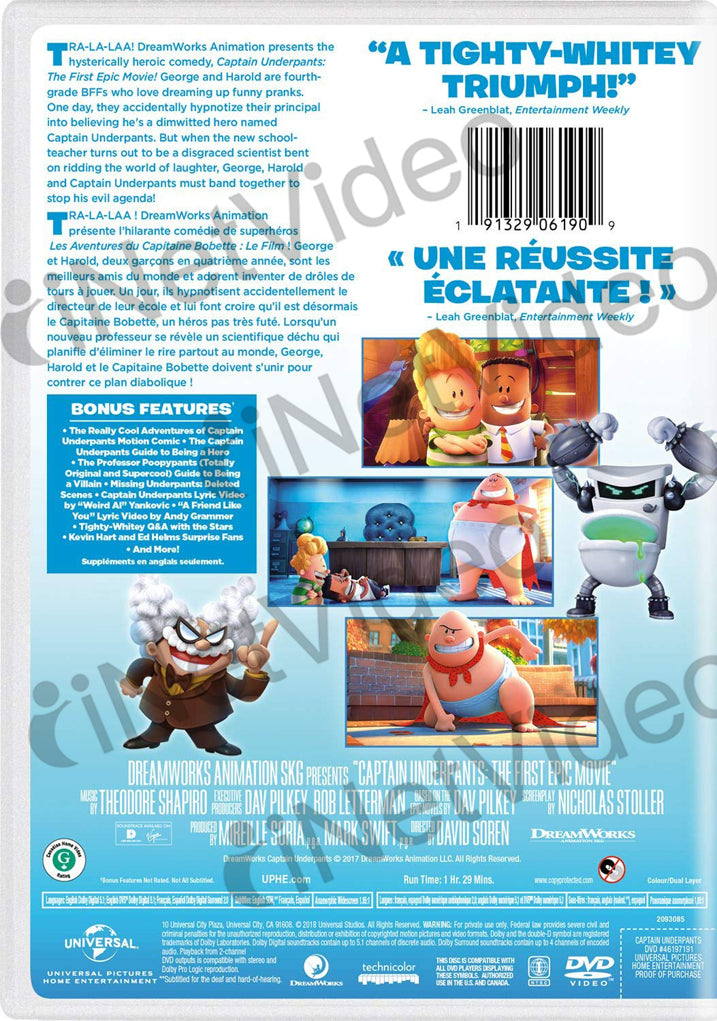 Captain Underpants The First Epic Movie Bilingual On Dvd Movie
