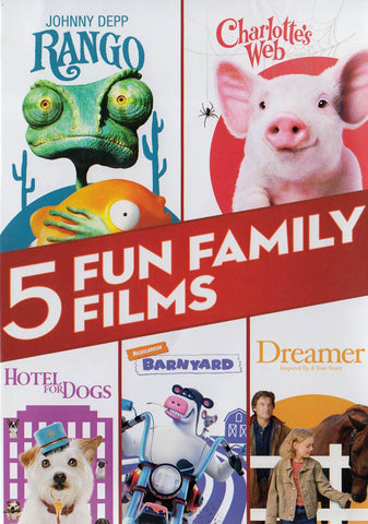 5 Fun Family Films (Rango / Charlotte s Web / Hotel for Dogs / Barnyard / Dreamer) DVD Movie