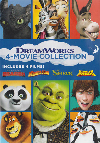 4-Movie Collection (How To Train Your Dragon / Madagascar / Shrek / Kung Fu Panda) DVD Movie