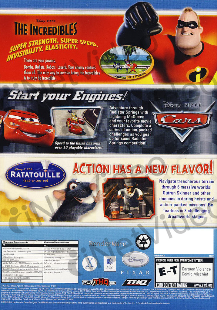 disney pixar collection 3 games in 1 incredibles cars