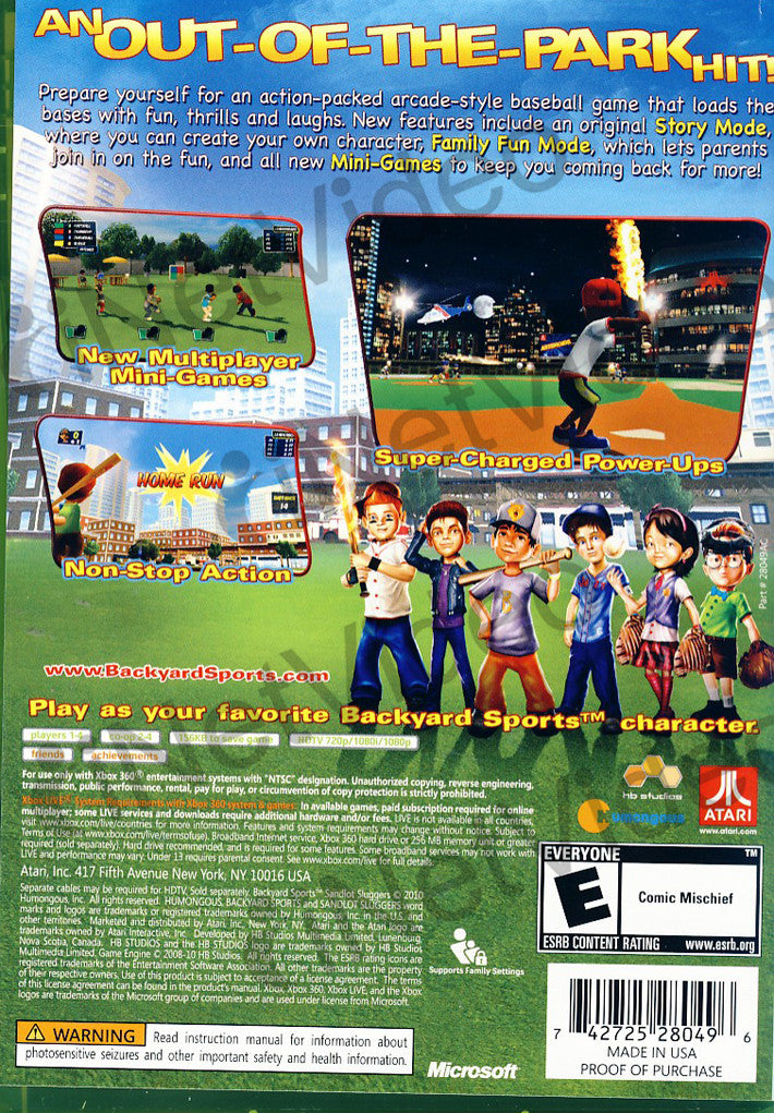 Ordinaire ... Backyard Sports   Sandlot Sluggers (XBOX360) XBOX360 Game ?
