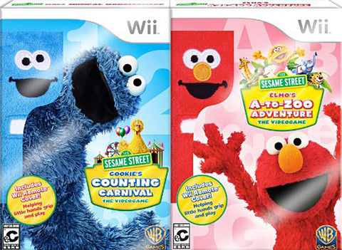 Sesame Street 2 Pack Bundle! (Elmo's A-To-Zoo Adventure + Cookie's Counting Carnival) (NINTENDO WII) NINTENDO WII Game