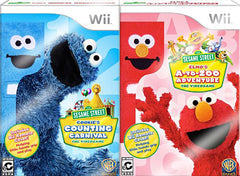 Sesame Street 2 Pack Bundle! (Elmo's A-To-Zoo Adventure + Cookie's Counting Carnival) (NINTENDO WII)