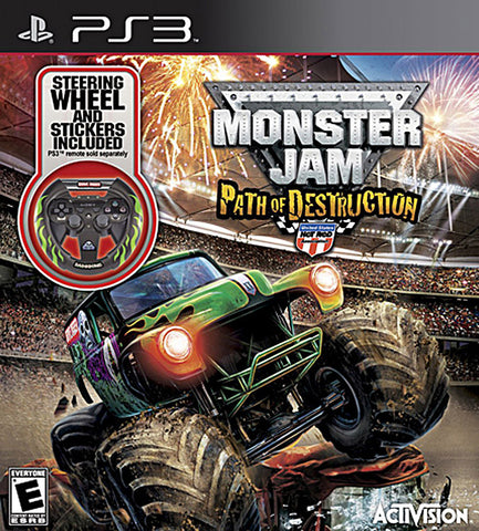Monster Jam 3 - Path of Destruction with Grave Digger Steering Wheel Peripheral (PLAYSTATION3) PLAYSTATION3 Game