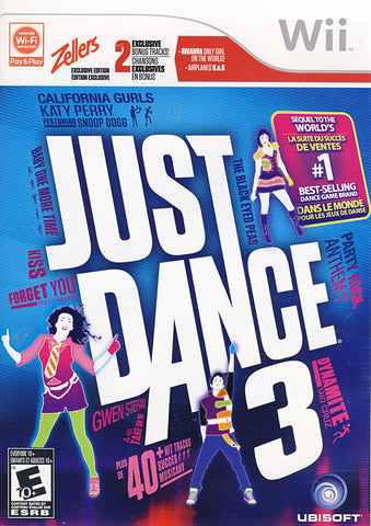 Just Dance 3 (Zellers Exclusive Edition) (Bilingual Cover) (NINTENDO WII) NINTENDO WII Game
