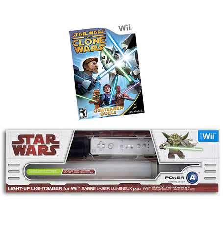 Star Wars The Clone Wars - Lightsaber Duels + Light-Up Lightsaber - Yoda (NINTENDO WII) NINTENDO WII Game