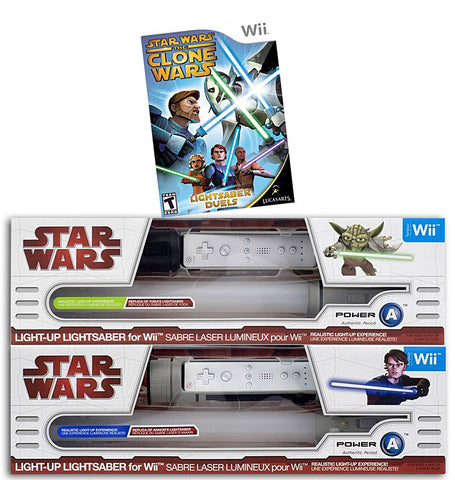 Star Wars The Clone Wars - Lightsaber Duels + 2 Official Lightsabers (Yoda and Anakin) (NINTENDO WII) NINTENDO WII Game