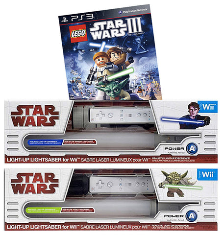 Lego Star Wars - The Complete Saga + 2 Official Lightsabers (Yoda and Anakin) (NINTENDO WII) NINTENDO WII Game