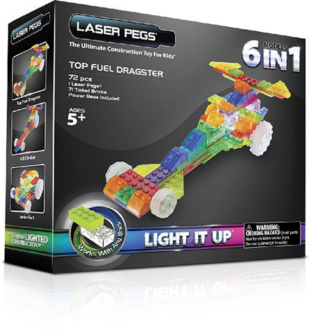 Laser Pegs 6-in-1 Top Fuel Dragster Building Set (Toy) (TOYS) TOYS Game