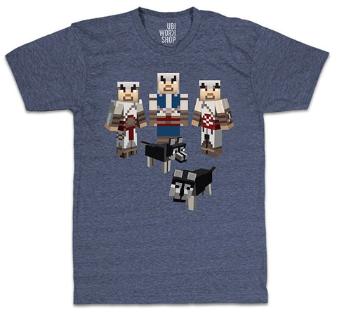 Ubisoft Unisex - Minecraft - Assassin s T-Shirt - Medium Navy Heather (APPAREL) APPAREL Game
