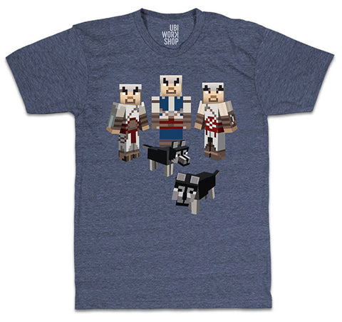 Ubisoft Unisex - Minecraft - Assassin s T-Shirt - Large Navy Heather (APPAREL) APPAREL Game