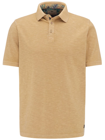 FYNCH HATTON® Washed Slub Polo Shirt/Camel - New SS20