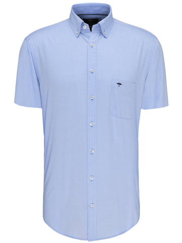 FYNCH HATTON® Summer Short Sleeve Oxford Shirt/Light Blue - New SS20