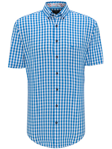 FYNCH HATTON® Summer SS Table Check Shirt/Crystal - New HS20