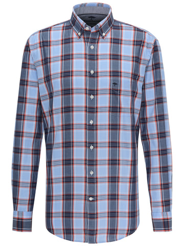 FYNCH HATTON® Premium Coloured Check Shirt/Blue Mandarin Sun - New AW19