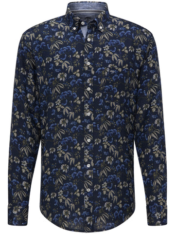 FYNCH HATTON® Linen Print Shirt/Blue Flowers - New SS20