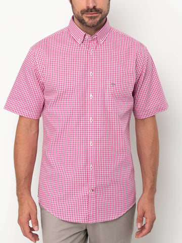 FYNCH HATTON® Summer SS Check Shirt/Fruit Pink - New HS20