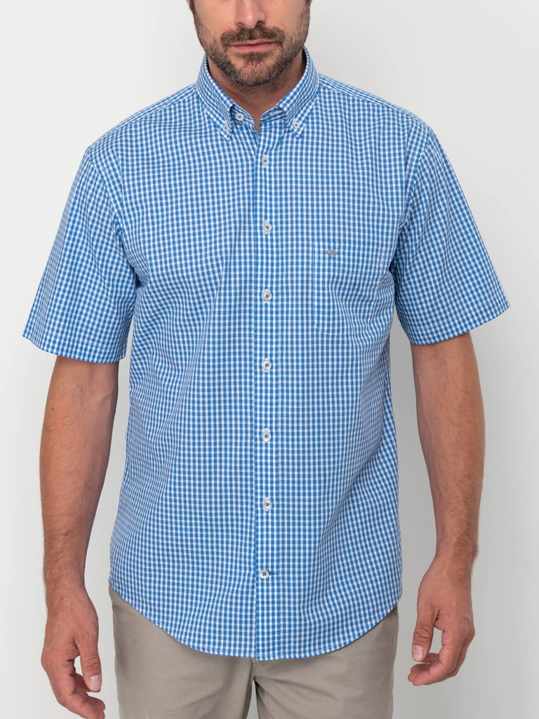 FYNCH HATTON® Summer SS Check Shirt/Royal - New HS20