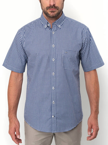 FYNCH HATTON® Summer SS Check Shirt/Midnight - New HS20