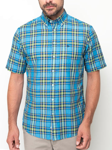 FYNCH HATTON® Premium Linen/Cotton Check Shirt/Royal Madras - New HS20