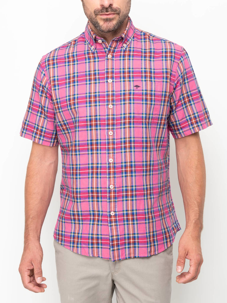 FYNCH HATTON® Premium Linen/Cotton Check Shirt/Pink Madras - New HS20