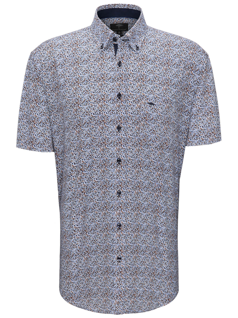 FYNCH HATTON® Superior Printed Shirt/Earth-Blue - New SS20