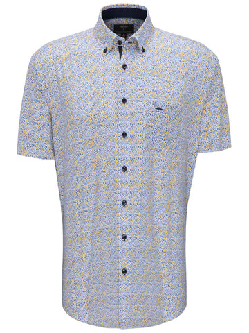FYNCH HATTON® Superior Printed Shirt/Citron-Blue - New SS20