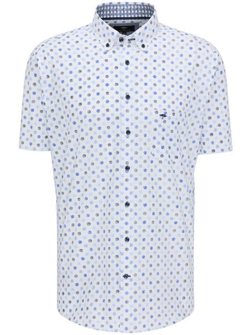 FYNCH HATTON® Summer Print Short Sleeve Shirt/White - New SS21