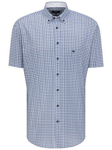 FYNCH HATTON® Summer Print Short Sleeve Shirt/Blue - New SS21